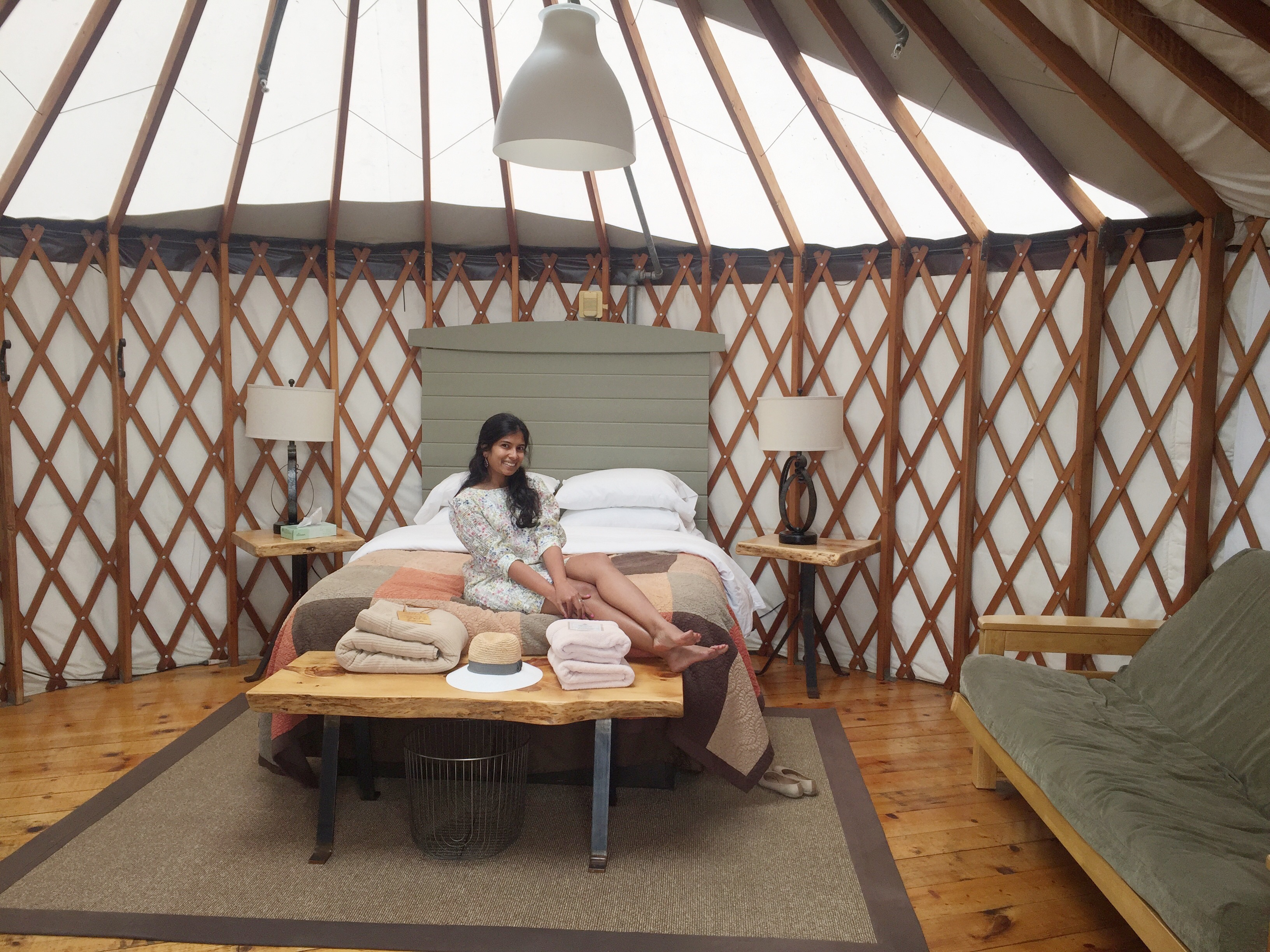 Inside of a Treebones Resort Yurt