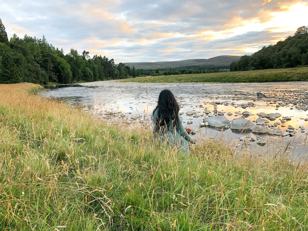 Girl watching River Findhorn Sunset
