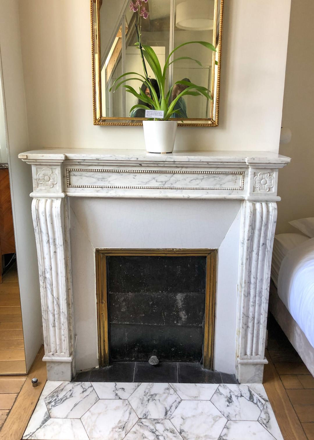 Original Fireplace at Airbnb in Paris