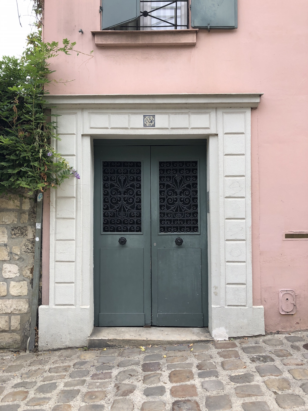 Paris Green Door Pink Wall