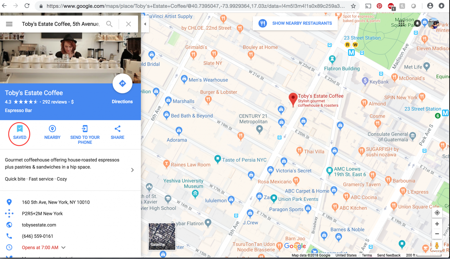 Save a place to a list on Google Maps desktop