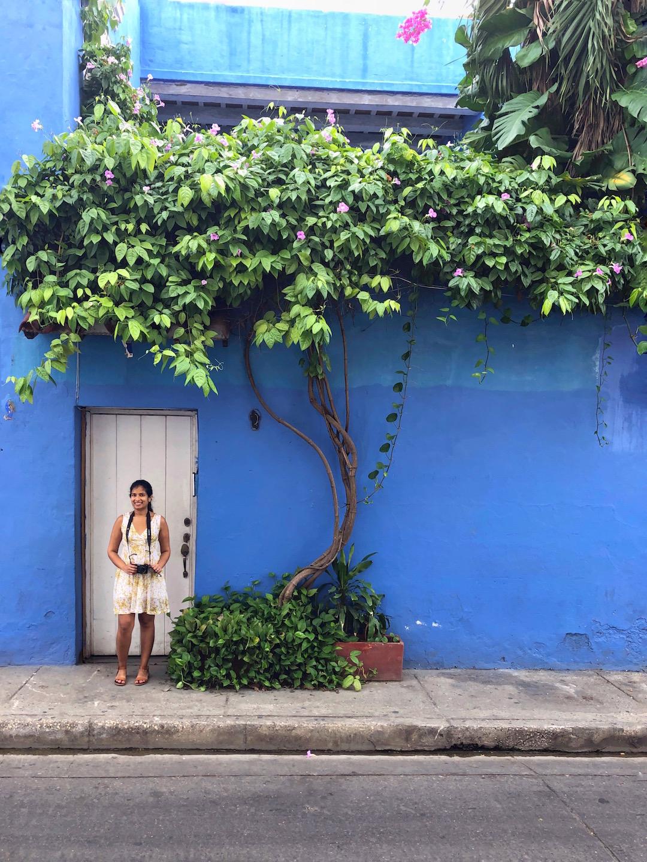 Pretty door with blue walls in Cartagena